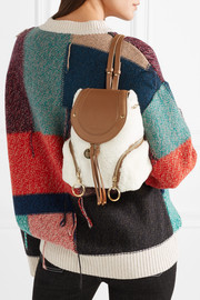 See by Chloé Olga small shearling and textured-leather backpack