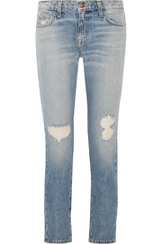 Current/Elliott The Fling distressed low-rise slim boyfriend jeans