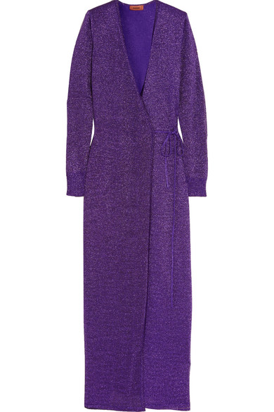 Missoni - Metallic Stretch-knit Wrap Maxi Dress - Purple