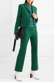 Checked stretch wool-blend straight-leg pants