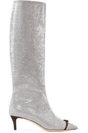 Marco De Vincenzo Bow-embellished Swarovski crystal and leather knee boots