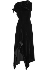 Roland Mouret Wren cutout asymmetric draped velvet midi dress