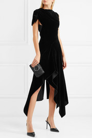 Wren cutout asymmetric draped velvet midi dress