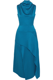 Allerston asymmetric hammered silk-satin dress
