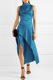 Roland Mouret Allerston asymmetric hammered silk-satin dress