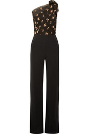 Colburn one-shoulder fil coupé cloqué  and cady jumpsuit