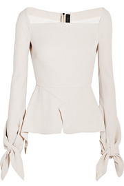 Wicklow knotted textured-crepe peplum top