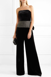 Roland Mouret Syston strapless embroidered velvet and cloqué peplum top