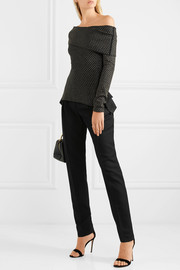 Roland Mouret Ashwell off-the-shoulder metallic wool-blend sweater