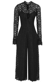Eclipse velvet-trimmed corded lace jumpsuit