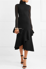 Brise ruffled stretch-knit turtleneck dress