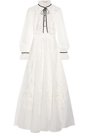 Temperley London Imperium embroidered silk-organza and chiffon maxi dress