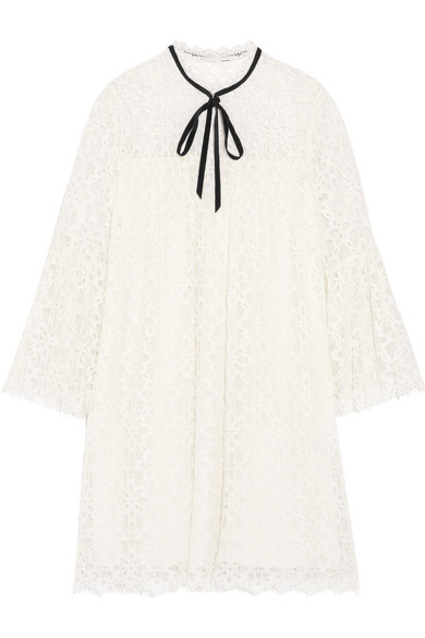 Temperley London - Eclipse Pussy-bow Guipure Lace Mini Dress - White