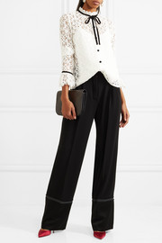 Temperley London Eclipse velvet-trimmed corded lace blouse
