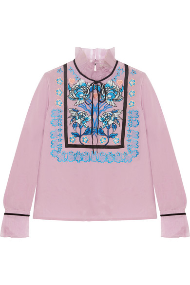 Temperley London - Imperium Embroidered Silk-organza Turtleneck Blouse - Pink