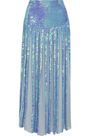 Temperley London Filigree pleated sequined chiffon maxi skirt