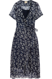 Cloe Cassandro Kimi ruffled floral-print silk-chiffon wrap dress