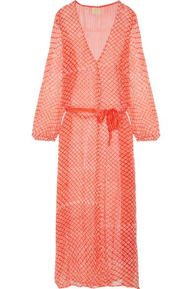 Cloe Cassandro - Jemima Printed Silk-chiffon Wrap Dress - Tomato red