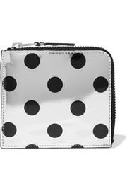 Polka-dot metallic leather wallet