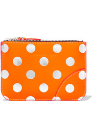 Metallic polka-dot leather pouch
