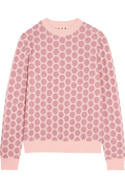 Marni Polka-dot metallic stretch-mesh sweater