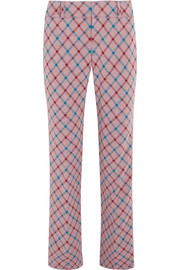 Checked brushed-twill bootcut pants