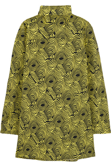 Marni - Printed Cotton-poplin Turtleneck Top - Yellow