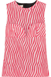Marni Paneled striped cotton-blend jacquard top