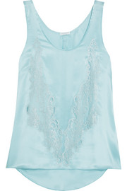 Rosamosario Cosmic Love Chantilly lace-paneled silk-satin camisole