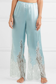 Cosmic Love Chantilly lace-paneled silk-satin pajama pants