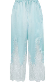 Rosamosario Cosmic Love Chantilly lace-paneled silk-satin pajama pants
