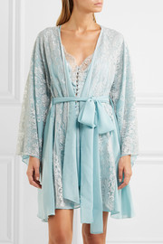 Cosmic Love Chantilly lace and silk-crepe robe