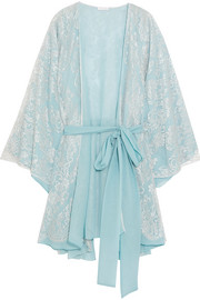 Rosamosario Cosmic Love Chantilly lace and silk-crepe robe
