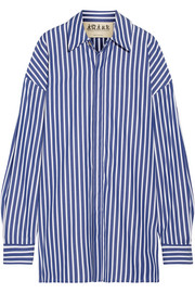 Oversized striped cotton-poplin shirt