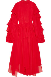 Octopus Passion ruffled cotton-voile midi dress
