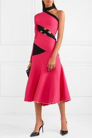 Fluted one-shoulder cutout stretch-knit midi dress