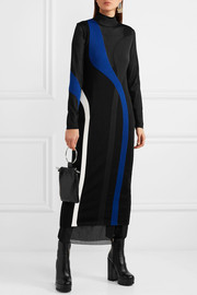 Intarsia knitted turtleneck maxi dress
