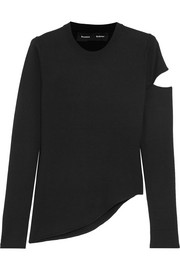Asymmetric cutout wool-blend sweater