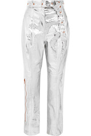 Proenza Schouler Metallic textured-leather straight-leg pants