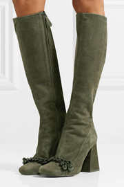 Tory Burch Addison chain-trimmed suede knee boots