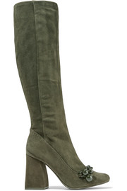 Addison chain-trimmed suede knee boots