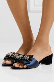 Tory Burch Valentina embellished satin and velvet mules