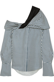 Calla off-the-shoulder striped silk-satin twill top