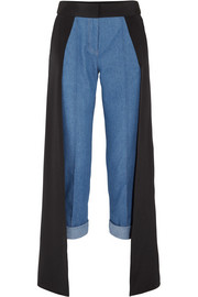 Smith silk satin-paneled high-rise straight-leg jeans
