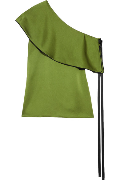 Hellessy - Mercer One-shoulder Ruffled Silk-satin Top - Green