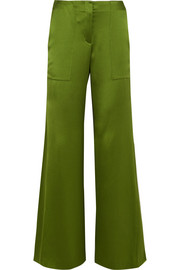 Patton silk-satin wide-leg pants