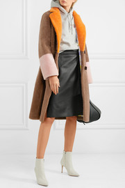 Febbe color-block shearling coat