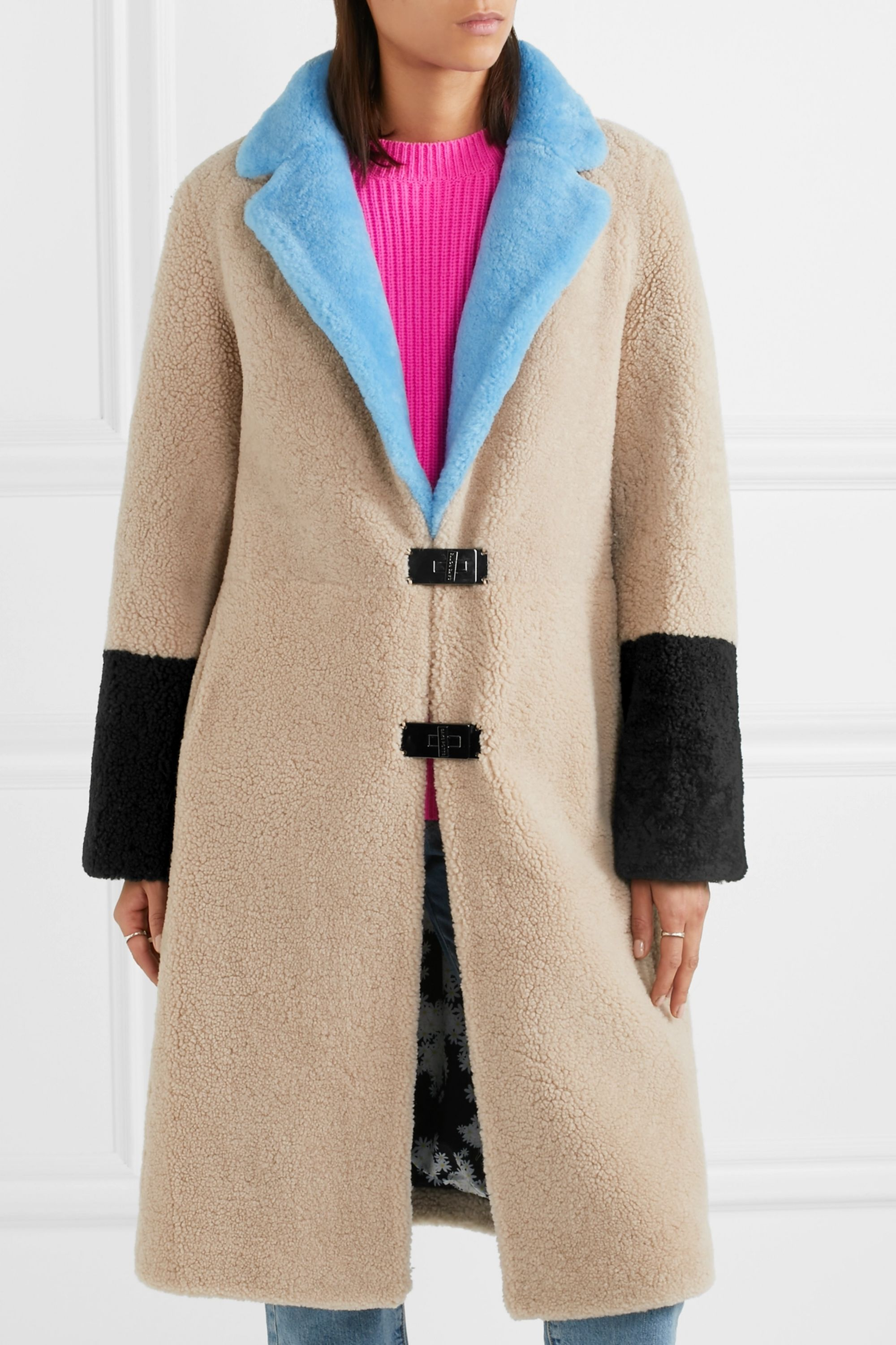Saks Potts Febbe color-block shearling coat