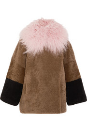 Suz color-block shearling coat