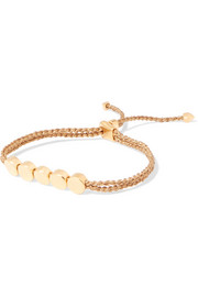 Monica Vinader Linear Bead gold vermeil and woven bracelet